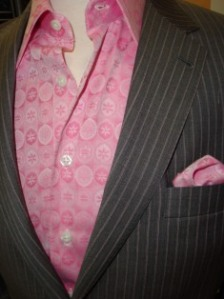 Shirt and pocket square cut from the same fabric
