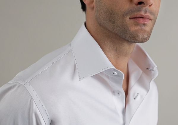 White shirt, from our Sartorial Collection, features pic stitching, fine cottons, and hand details throughout construction to make it one of the finest shirts available