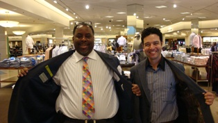 Keith Charles and Joseph Valente wearing their bespoke shirts for the Nordstrom launch of the Antonio Valente Bespoke Program