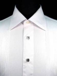 Antonio Valente tuxedo shirt with bibbed fronts and Swarovski crystal buttons